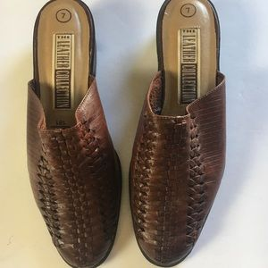 Leather collection mules
